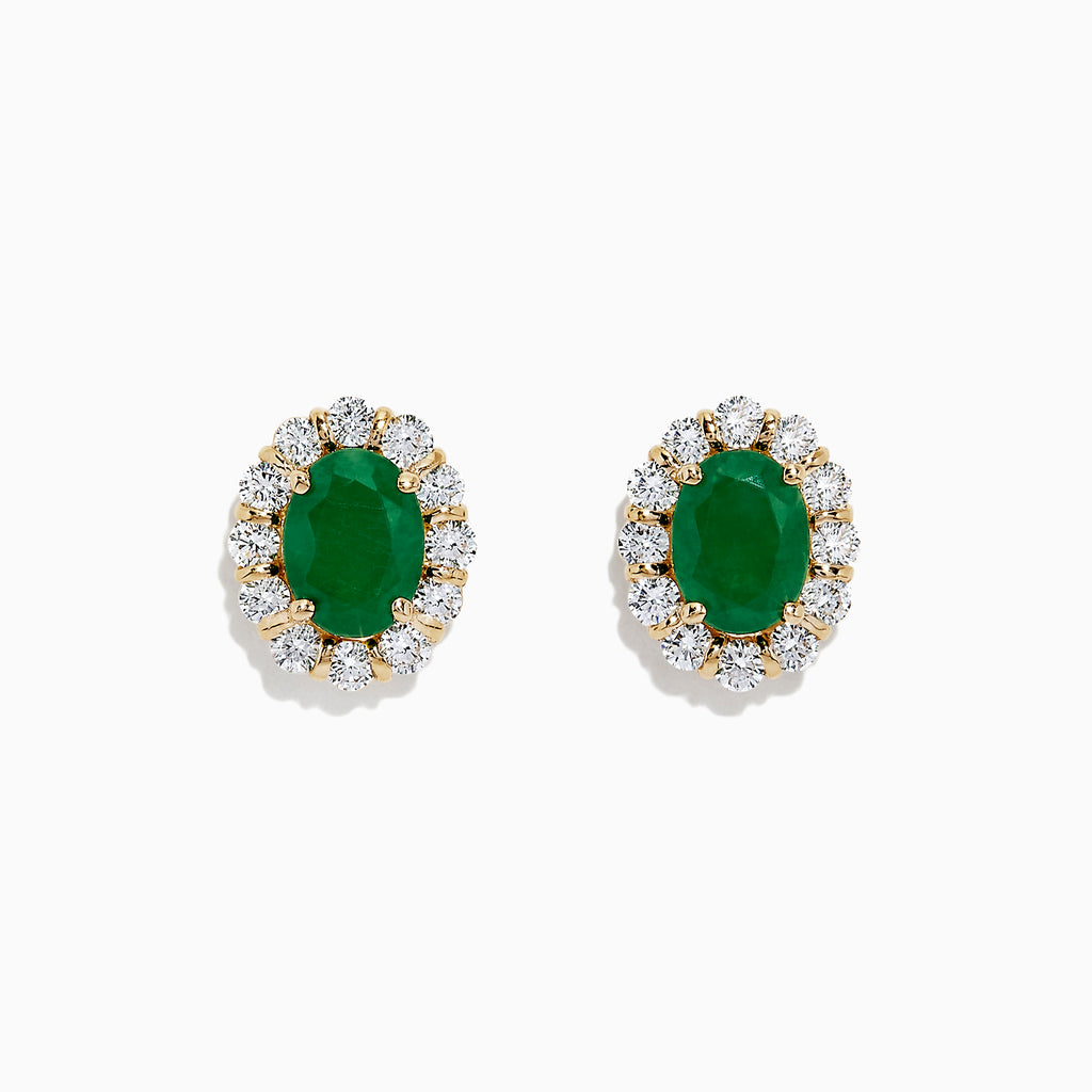 Effy Brasilica 14K Yellow Gold Emerald and Diamond Earrings, 3.22 TCW