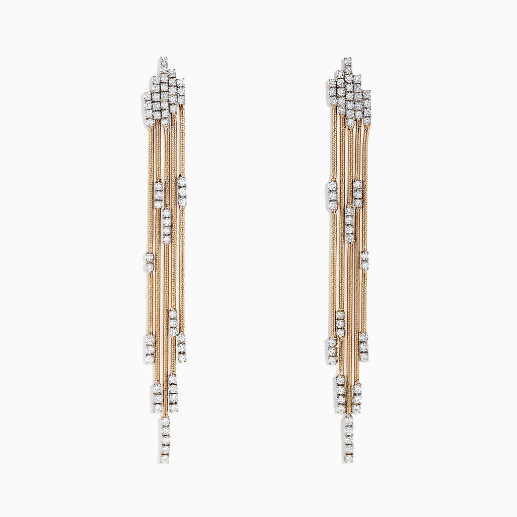 Effy Pave Rose 14K Two Tone Gold Diamond Fringe Earrings, 2.45 TCW