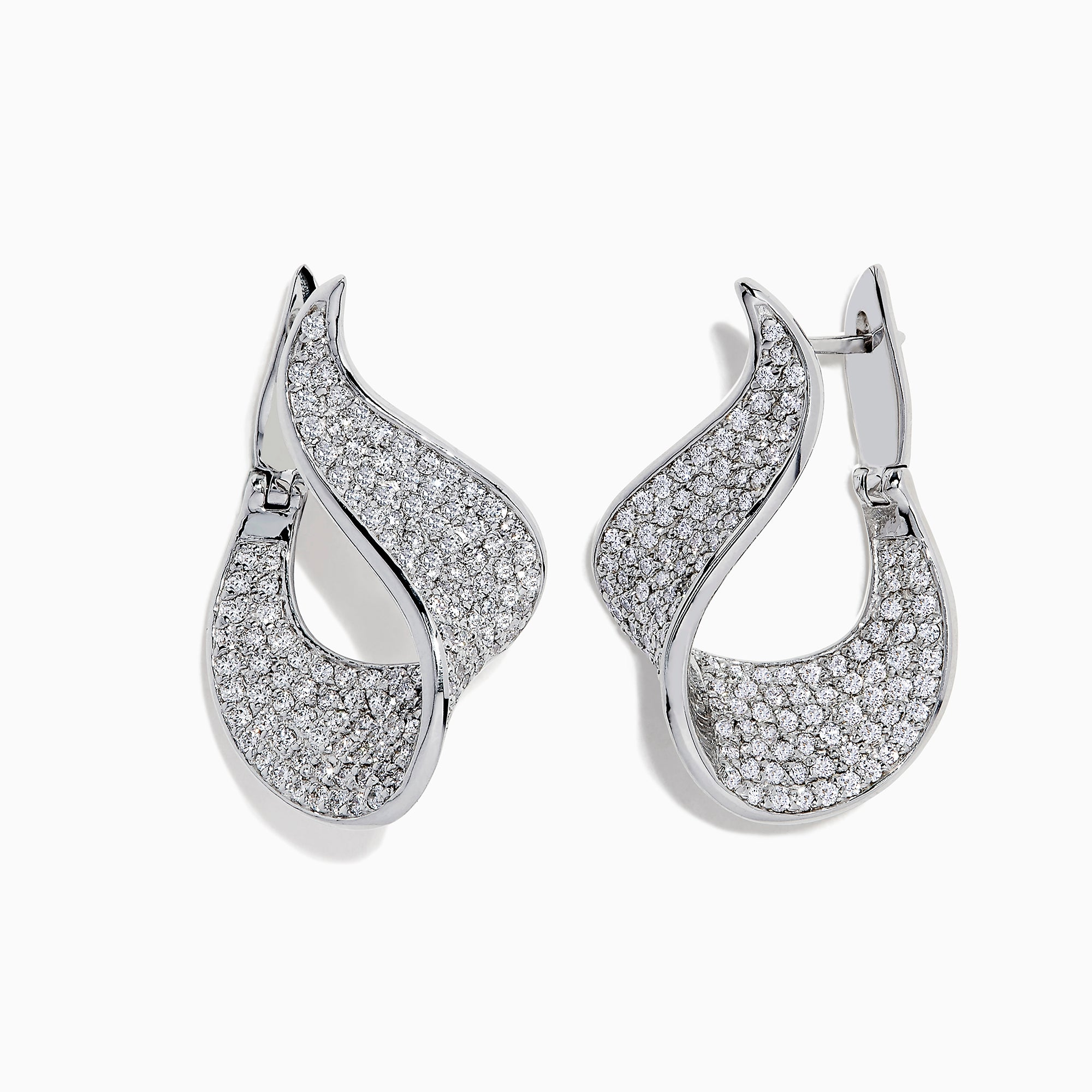 Effy Pave Classica 14 Karat White Gold Diamond Earrings, 2.25 TCW