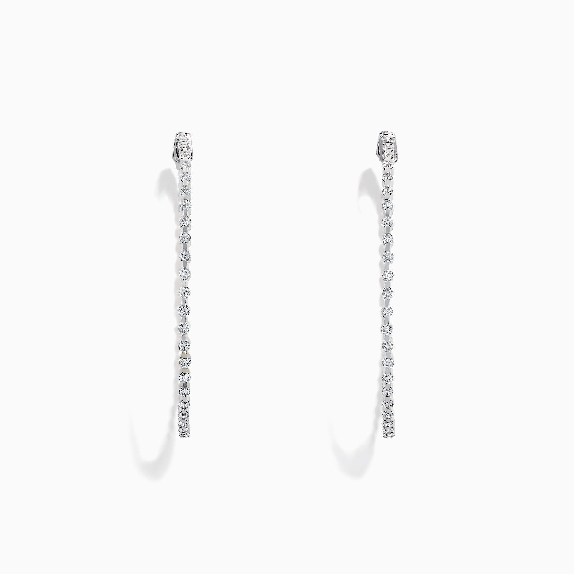 "Effy Pave Classica 14K White Gold Diamond 2"" Hoop Earrings, 2.65 TCW"