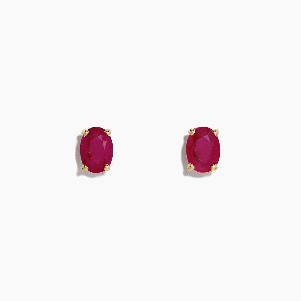 Effy 14K Yellow Gold Ruby Stud Earrings, 1.90 TCW