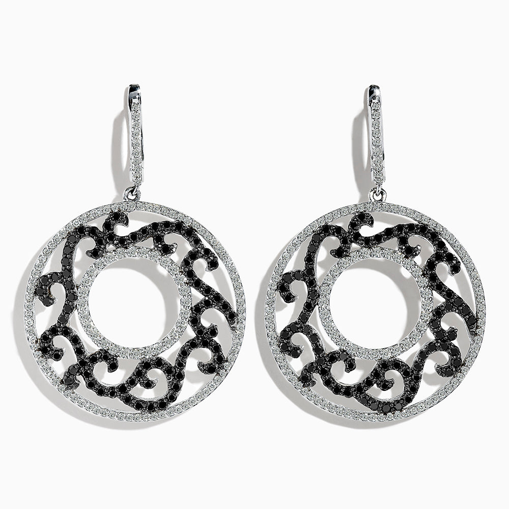 Effy 14K White Gold Black and White Diamond Earrings, 4.17 TCW