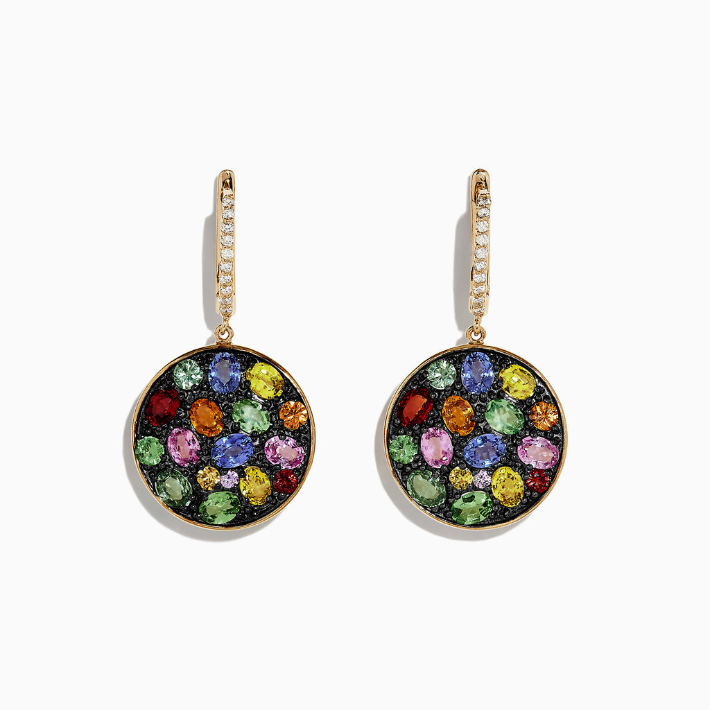 Effy Watercolors 14K Gold Multi Sapphire & Diamond Earrings, 6.30 TCW