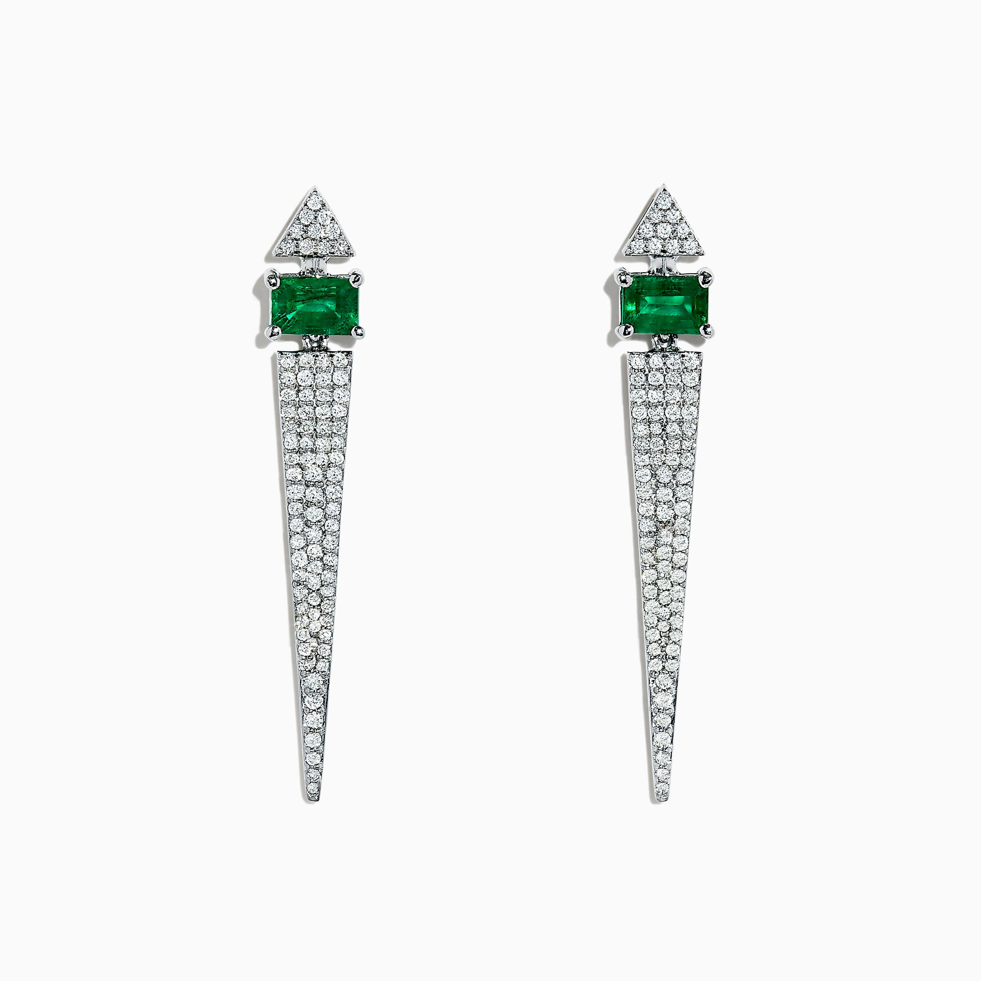 Effy Brasilica 14K White Gold Emerald & Diamond Vertical Earrings, 1.81 TCW