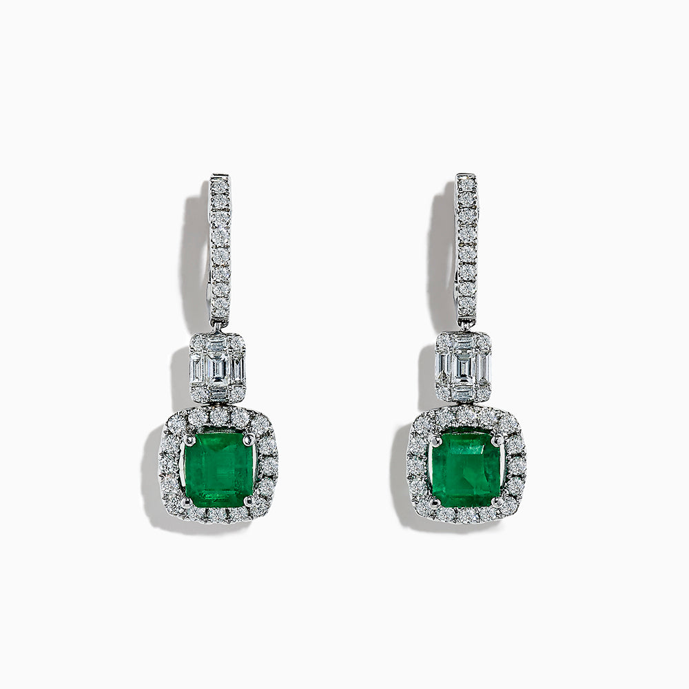 18K White Gold Emerald and Diamond Earrings, 3.05 TCW