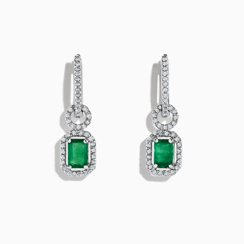Effy Brasilica 14K White Gold Emerald and Diamond Earrings, 1.47 TCW