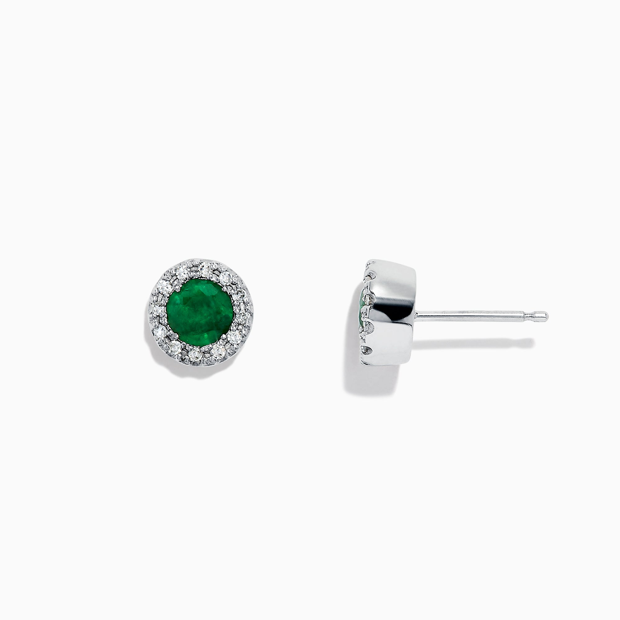 Effy Brasilica 14K White Gold Emerald and Diamond Stud Earrings, 0.82 TCW