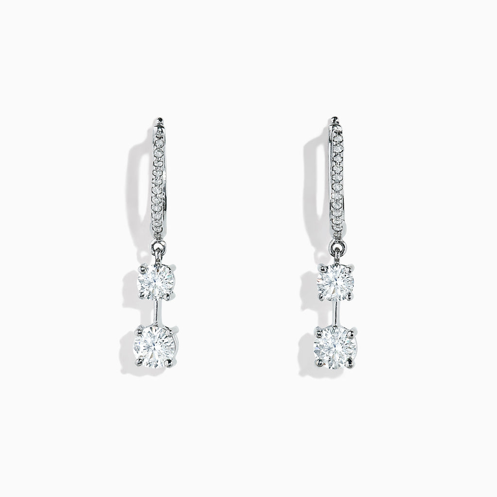 Effy Pave Classica 14K White Gold Diamond Drop Earrings, 1.36 TCW