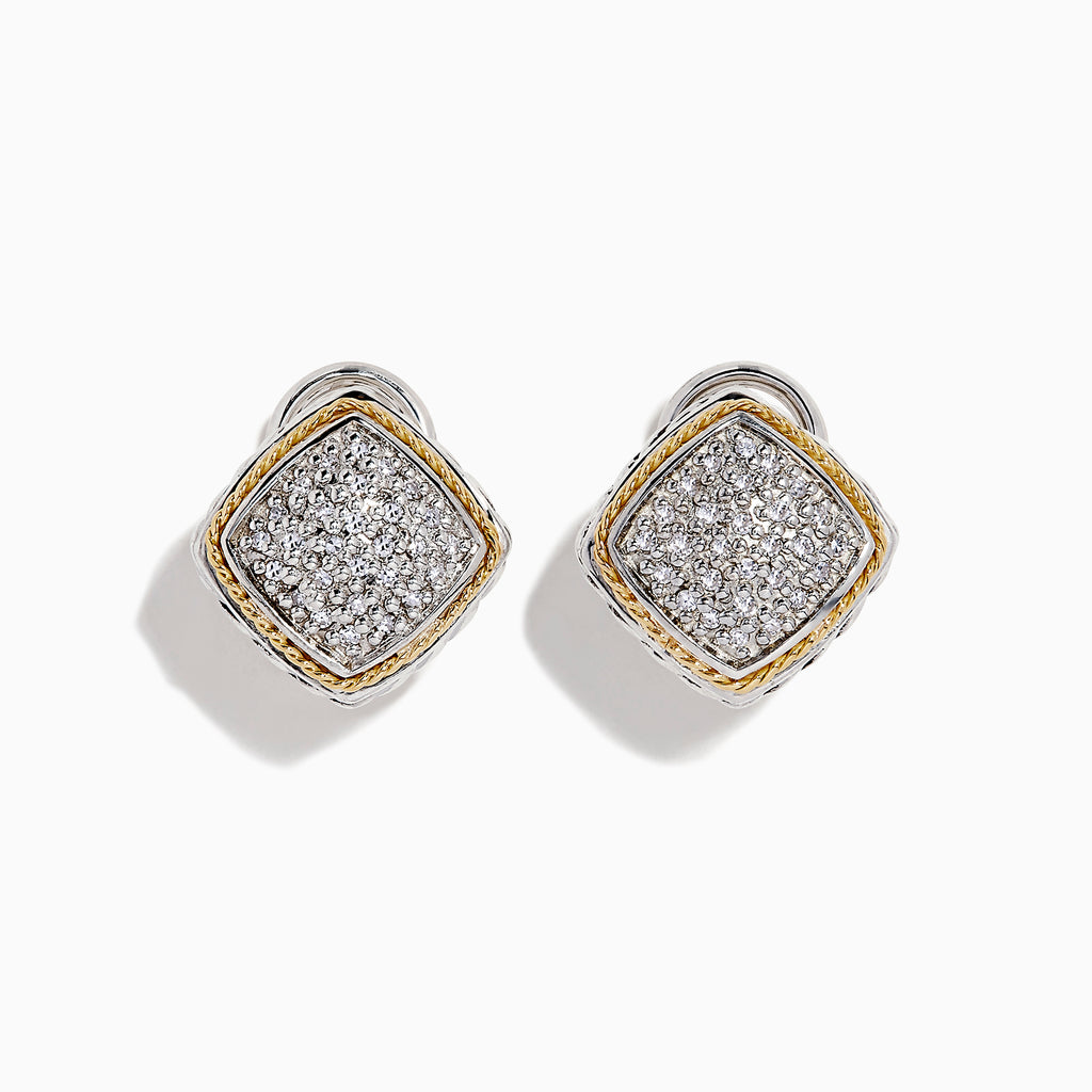 Effy 925 Sterling Silver & 18K Gold Diamond Earrings, 0.21 TCW