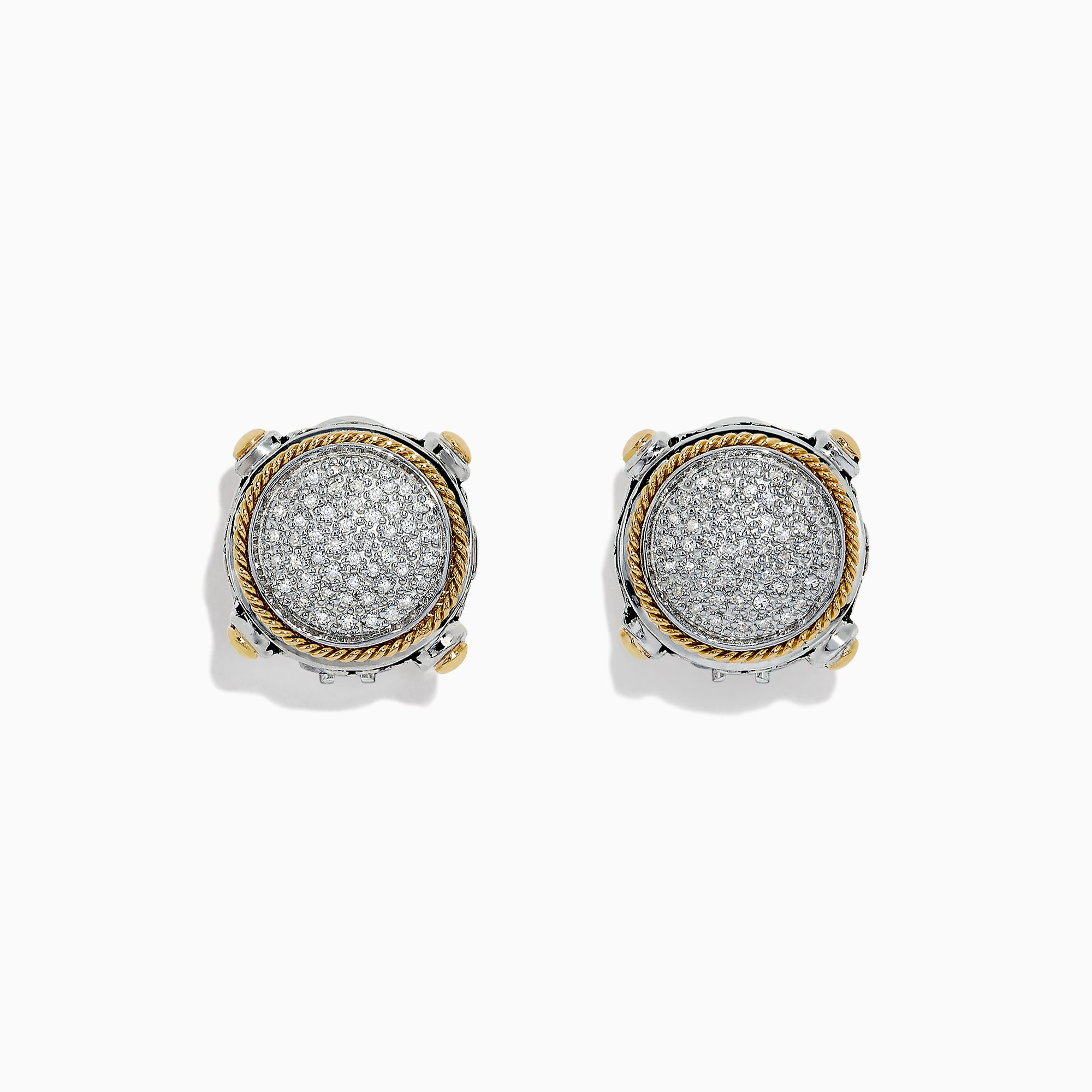 Effy 925 Sterling Silver & 18K Gold Diamond Earrings, 0.29 TCW