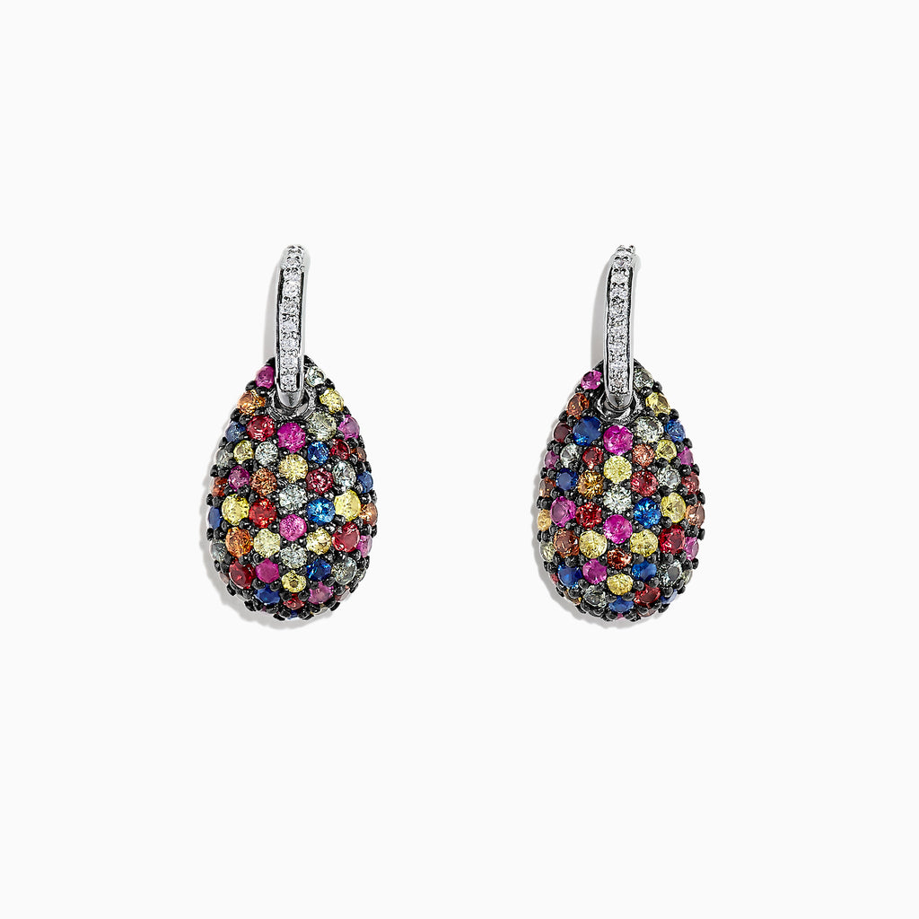 Effy Splash Sterling Silver Multi Sapphire and Diamond Earrings, 2.74 TCW