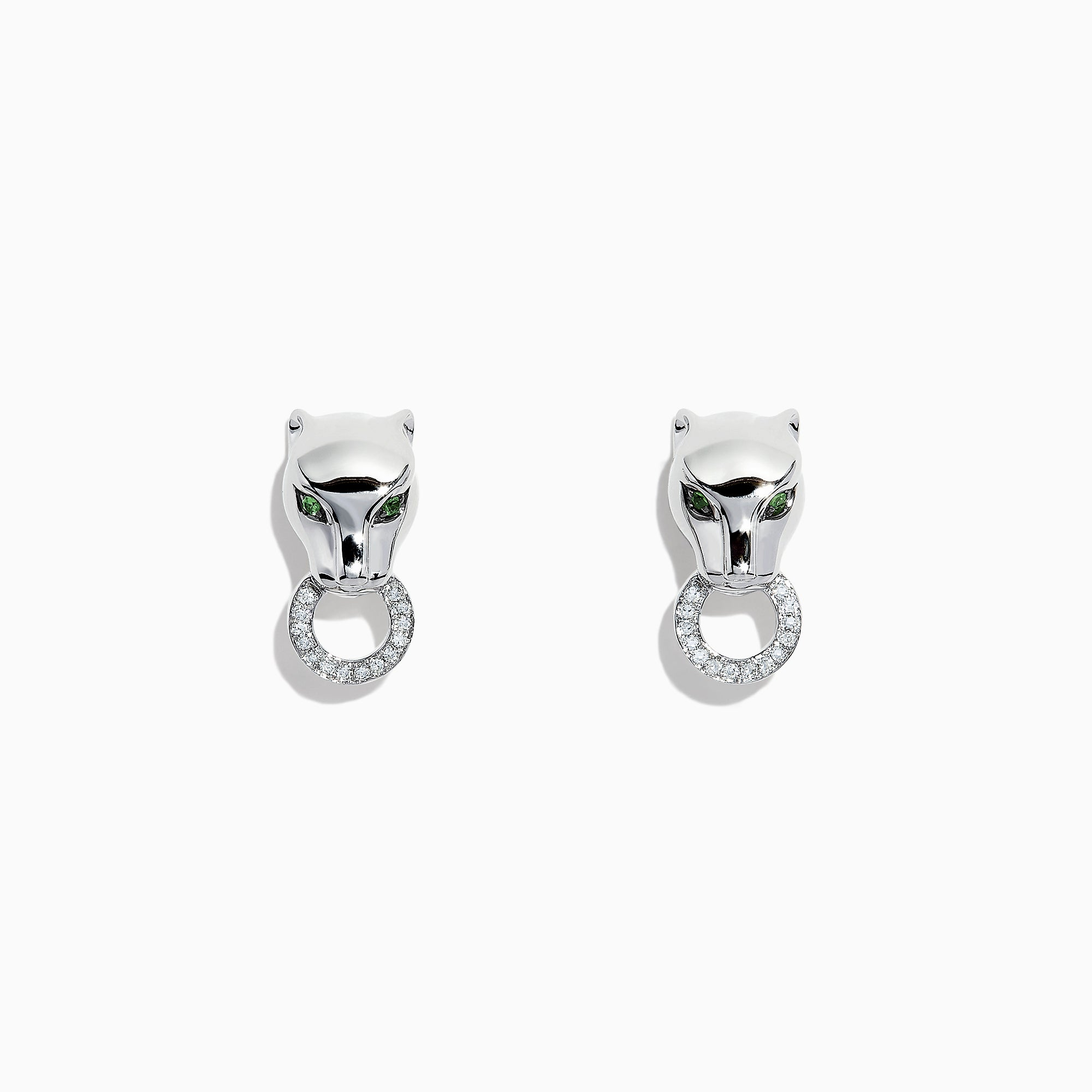 Effy Signature Sterling Silver Diamond and Tsavorite Panther Stud Earrings, 0.16 TCW