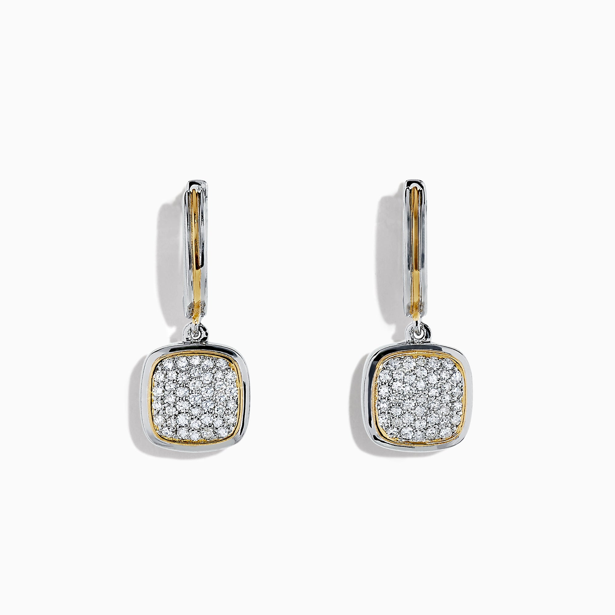 Effy 925 Sterling Silver & 18K Gold Accented Diamond Earrings, 0.42 TCW