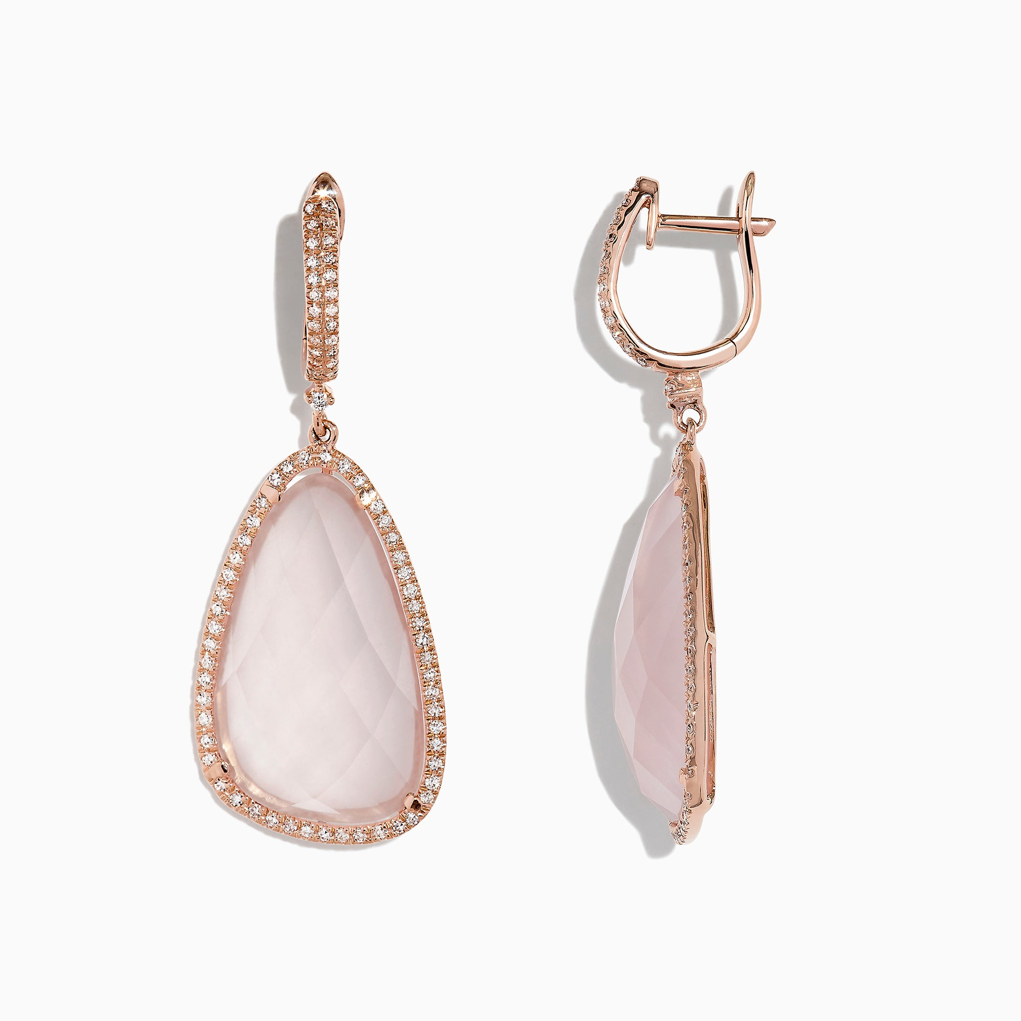 Effy 14K Rose Gold Pink Quartz and Diamond Earrings, 24.36 TCW