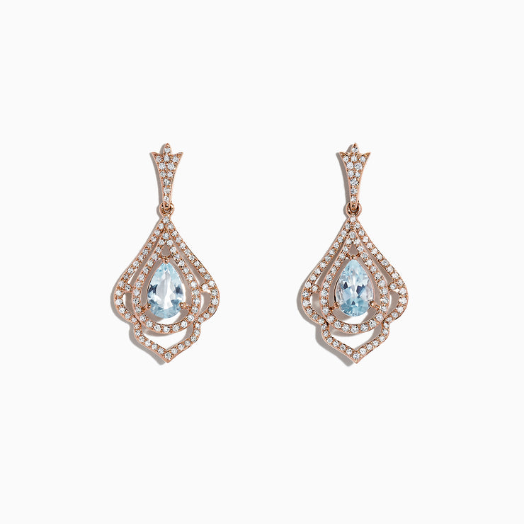 Effy 14K Rose Gold Aquamarine and Diamond Earrings, 1.98 TCW