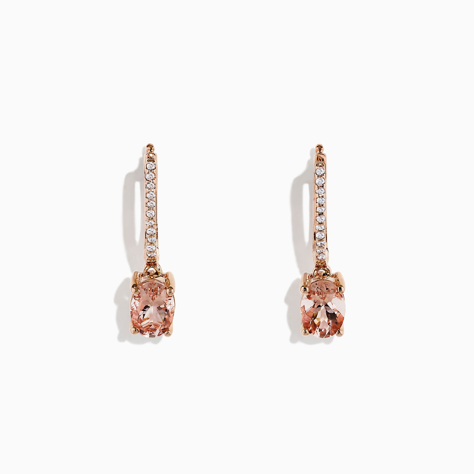 Effy Blush 14K Rose Gold Morganite and Diamond Earrings, 1.49 TCW