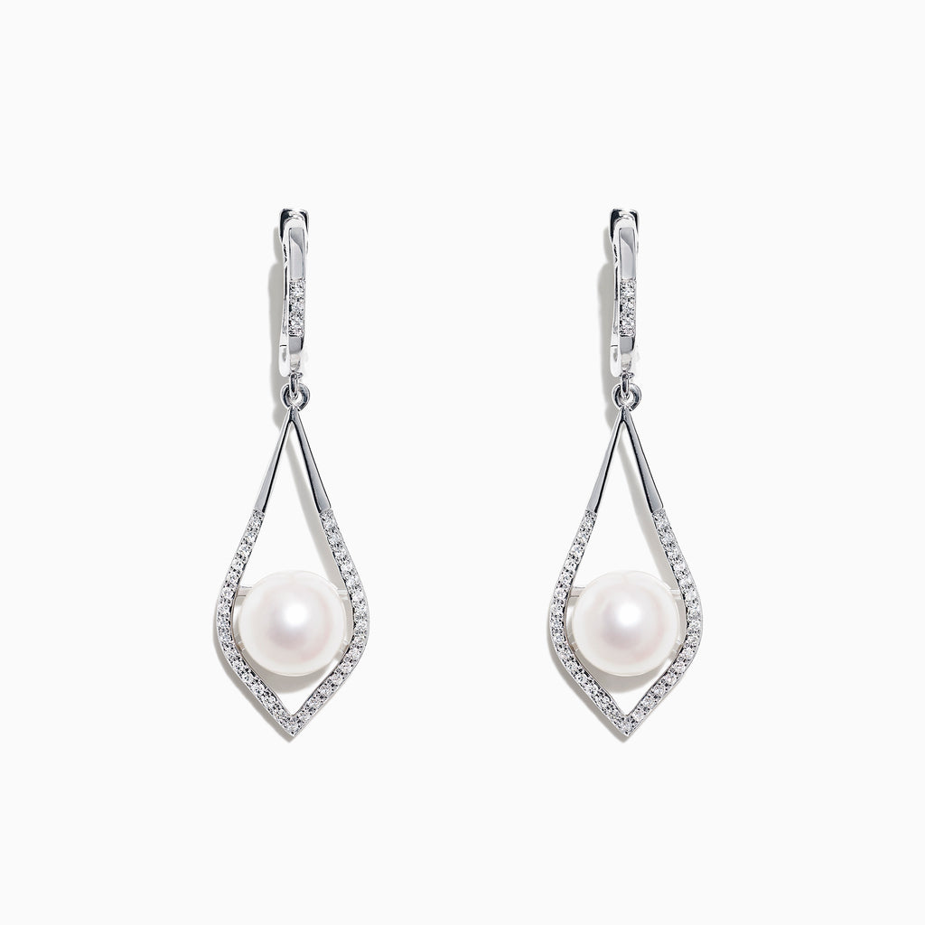 Effy 14K White Gold Cultured Fresh Water Pearl & Diamond Earrings, 0.21 TCW