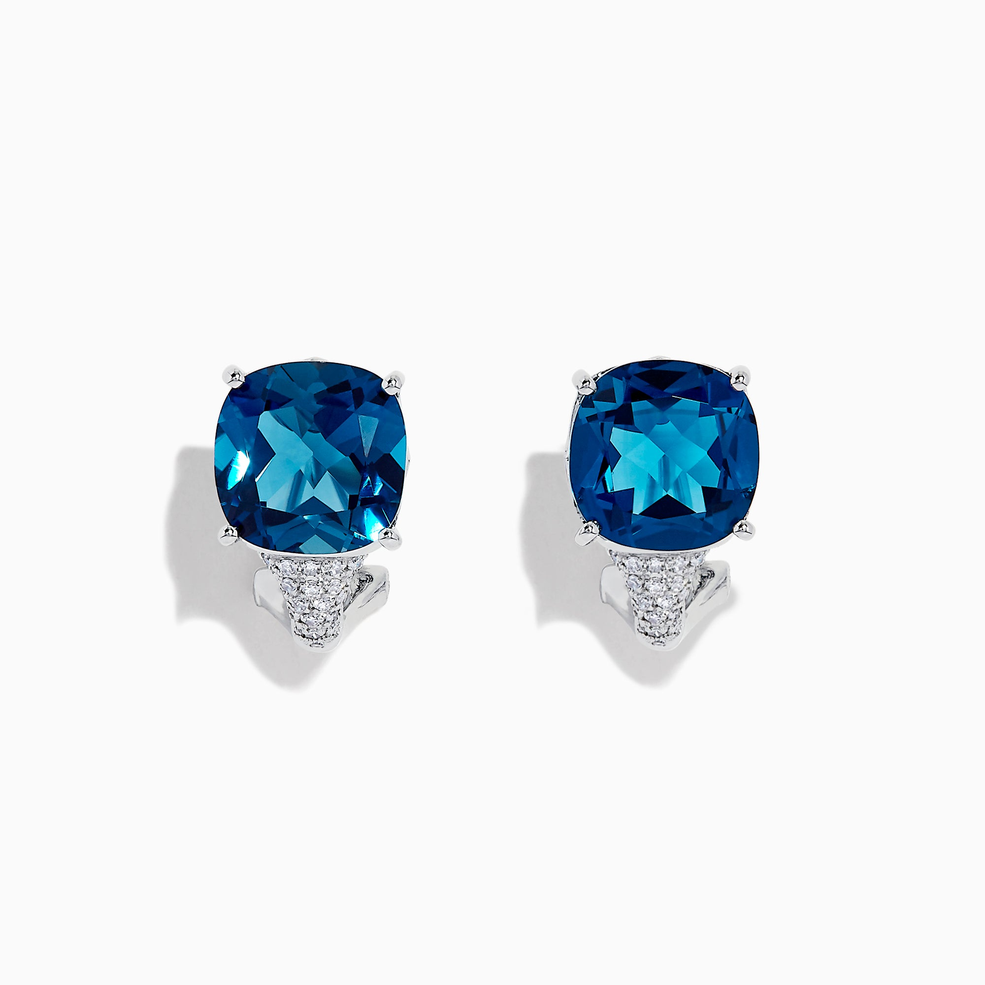 Effy Ocean Bleu 14K Gold London Blue Topaz and Diamond Earrings, 10.79 TCW