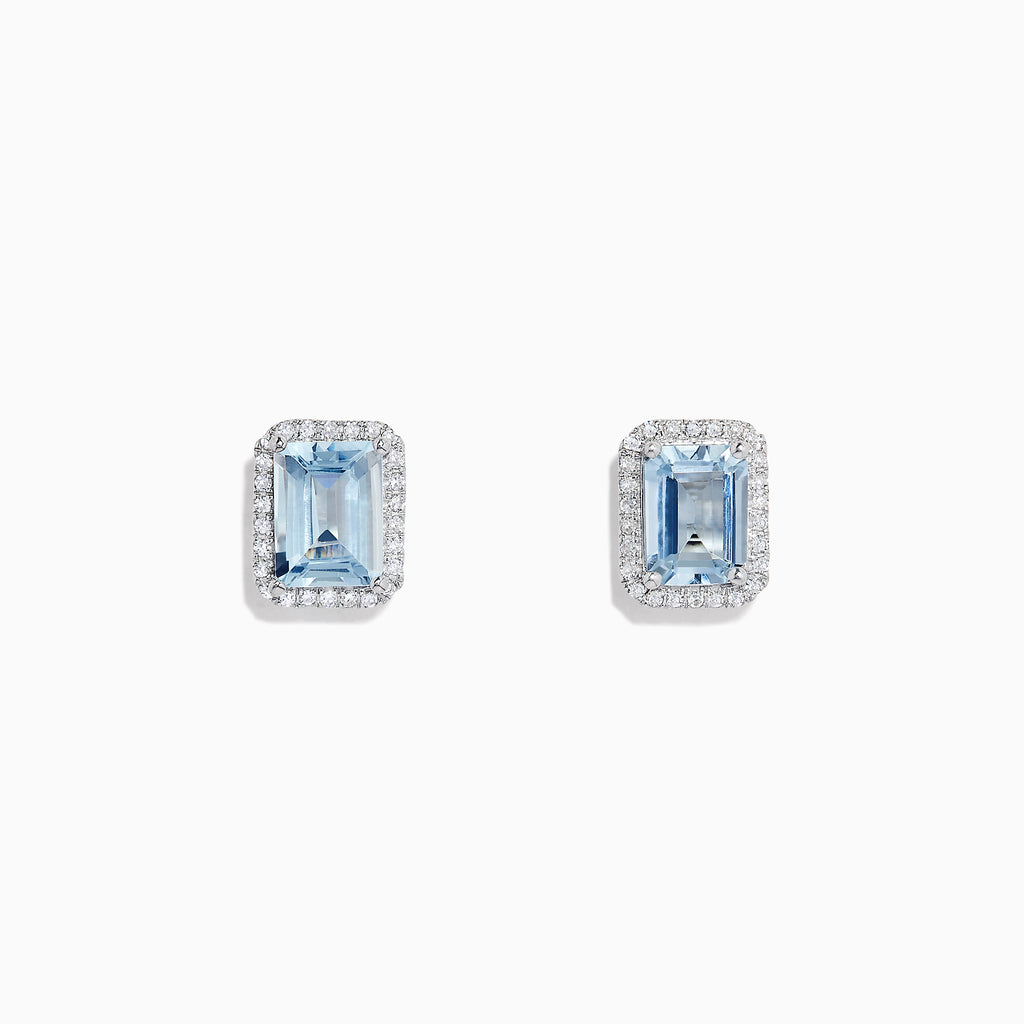Effy Aquarius 14K White Gold Aquamarine and Diamond Earrings, 2.80 TCW