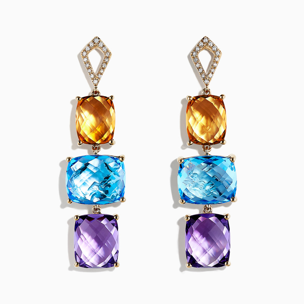 Effy Mosaic 14K Yellow Gold Multi Gemstone and Diamond Earrings, 26.71 TCW