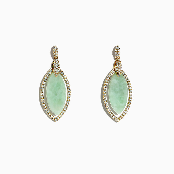 Effy 14K Yellow Gold Jade and Diamond Drop Earrings, 8.00 TCW