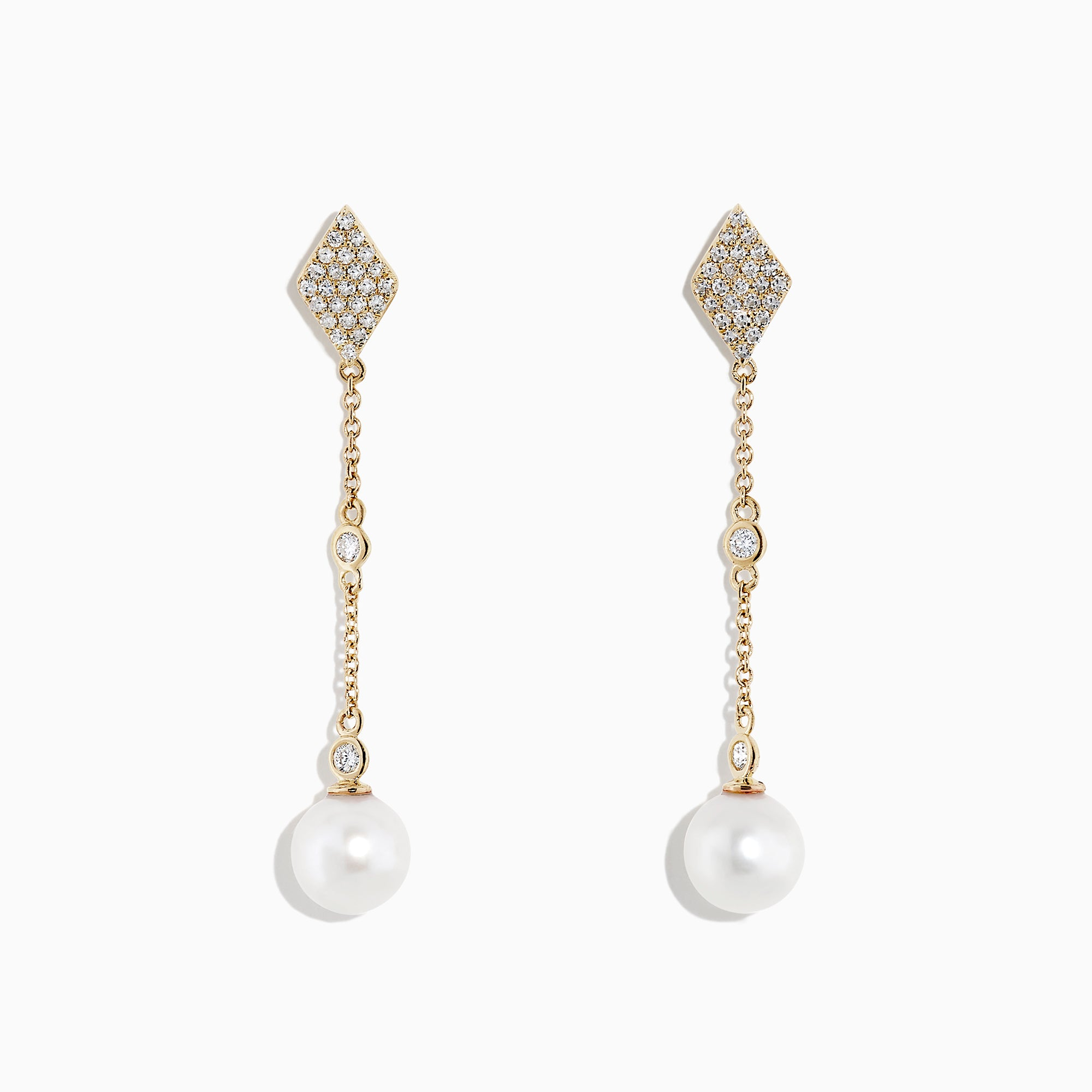 Effy 14K Yellow Gold Cultured Fresh Water Pearl and Diamond Earrings, 0.34 TCW