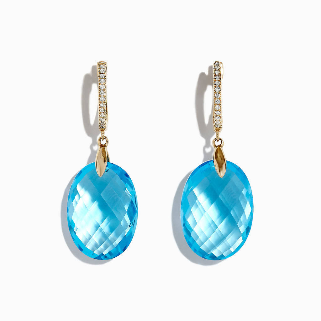 Effy Ocean Bleu 14K Yellow Gold Blue Topaz and Diamond Earrings, 25.54 TCW