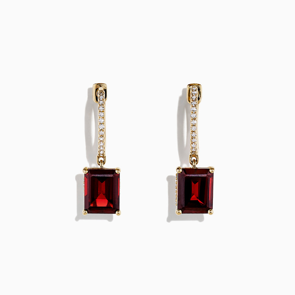 Effy Bordeaux 14K Yellow Gold Garnet and Diamond Earrings, 6.04 TCW