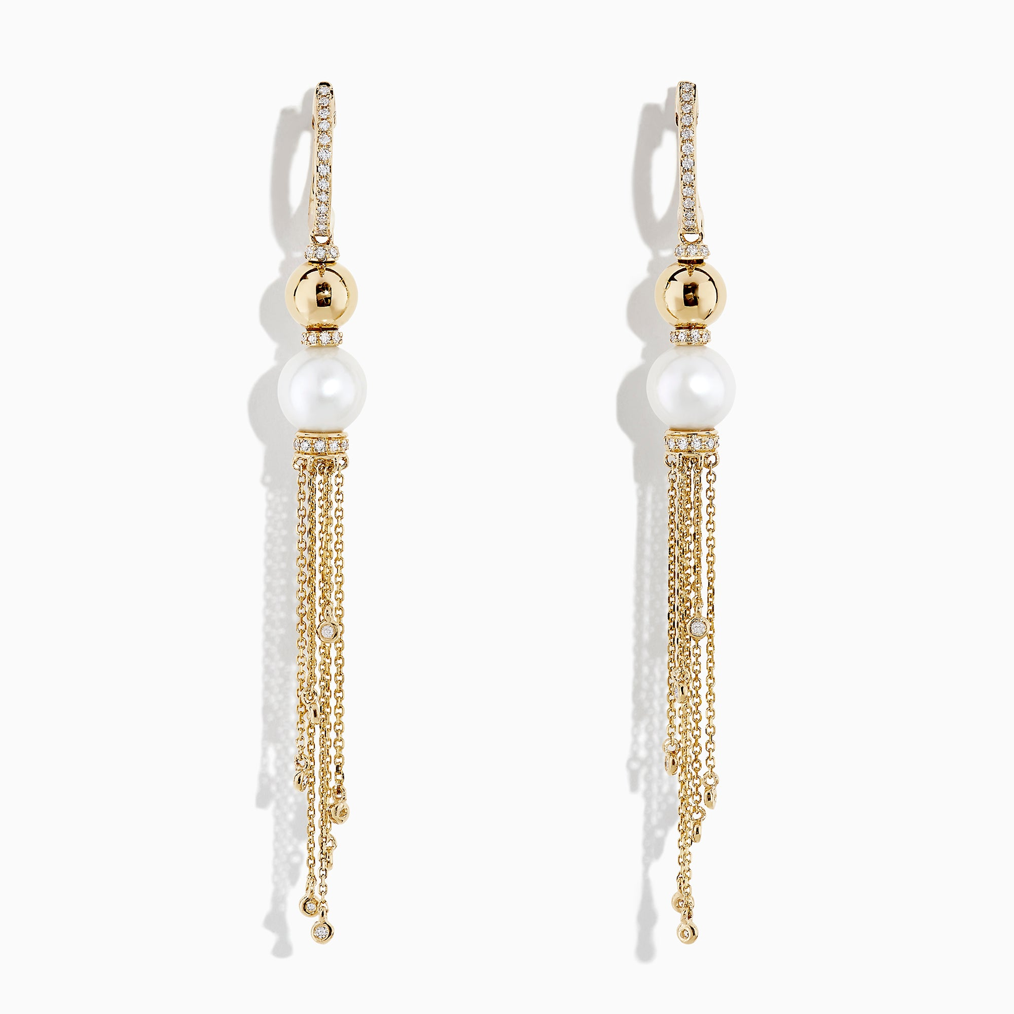 Effy 14K Yellow Gold Cultured Fresh Water Pearl & Diamond Fringe Earrings, 0.36 TCW
