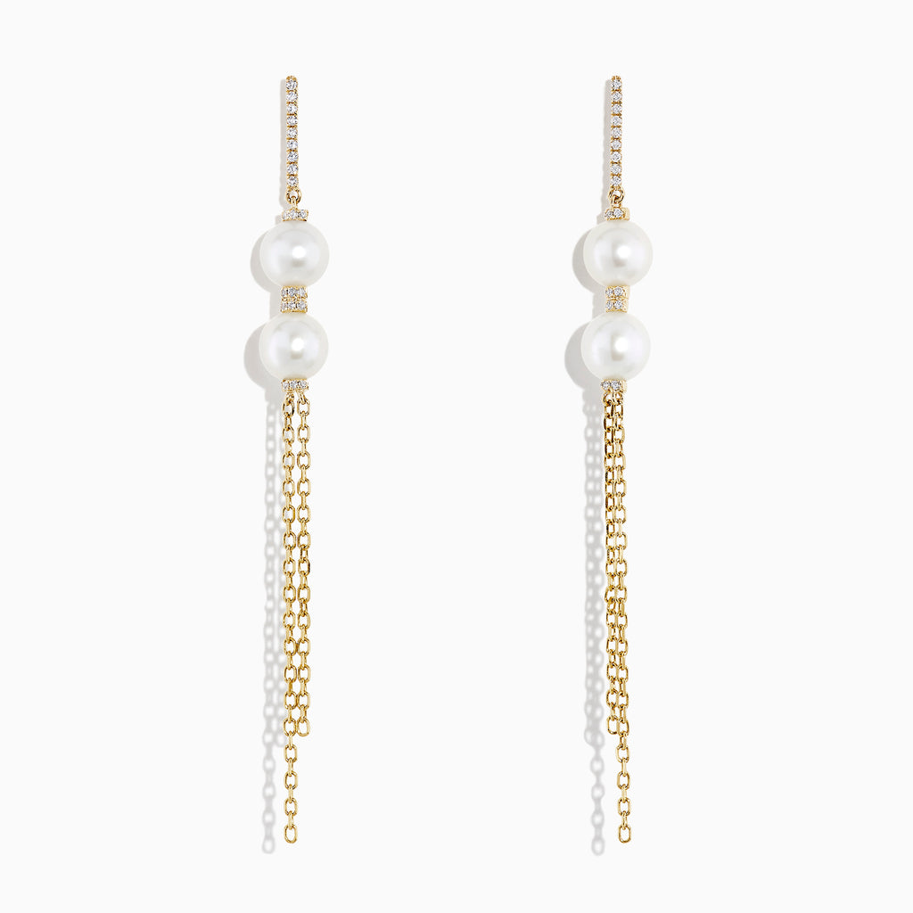 Effy 14K Yellow Gold Cultured Fresh Water Pearl & Diamond Fringe Earrings, 0.12 TCW