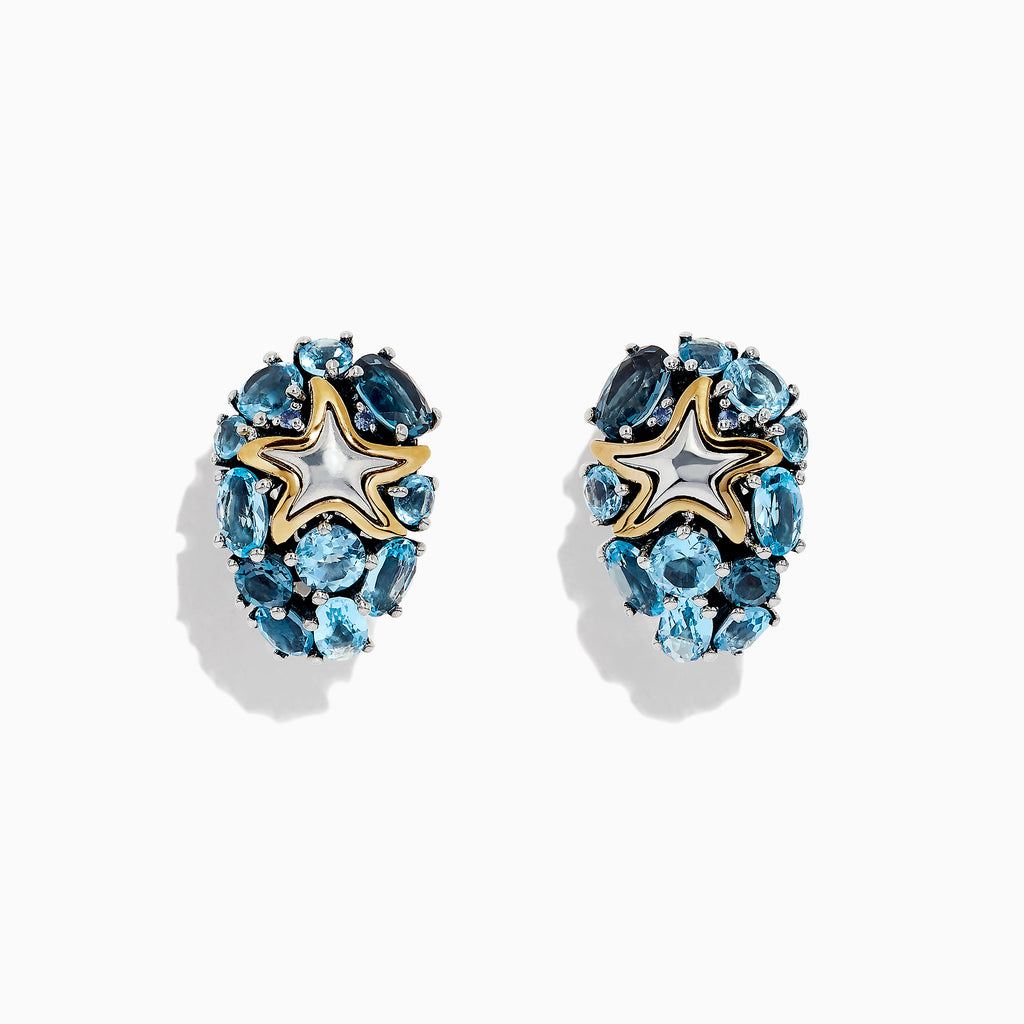 Effy Seaside Silver and 18K Gold Blue Topaz Starfish Earrings, 6.40 TCW