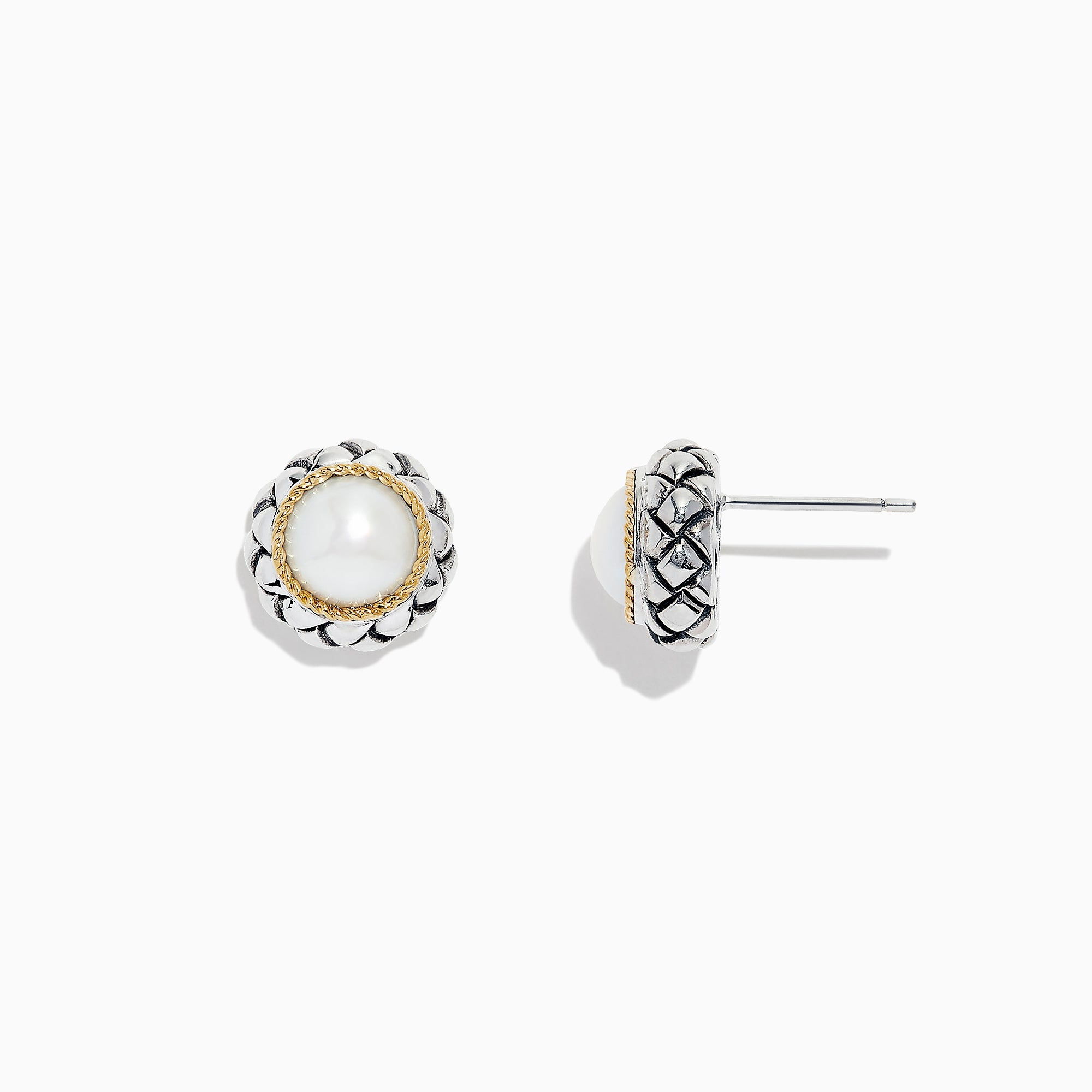 Effy 925 Sterling Silver & 18K Yellow Gold Cultured Fresh Water Pearl Stud Earrings