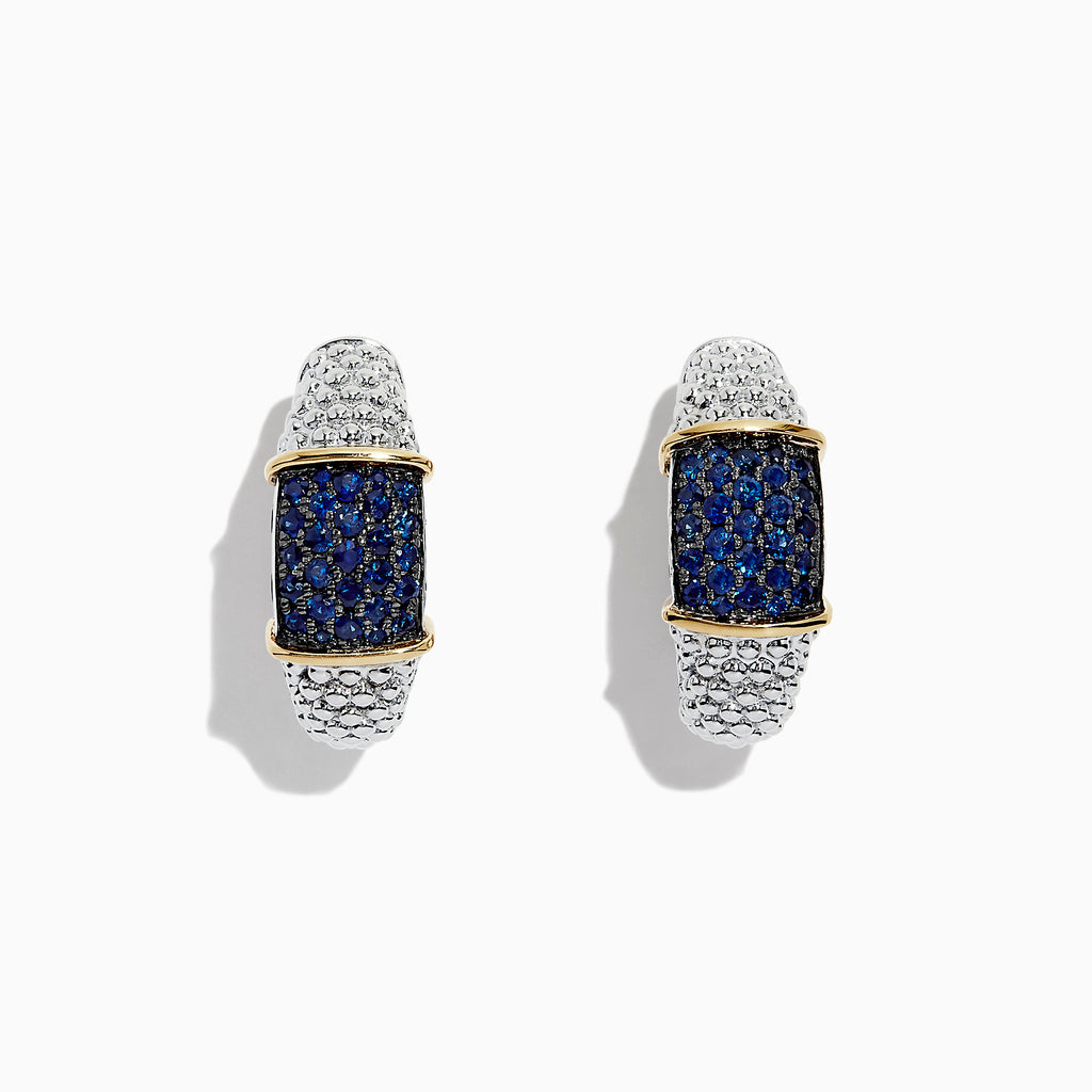 Effy 925 Sterling Silver & 18K Gold Blue Sapphire Hoop Earrings, 1.00 TCW