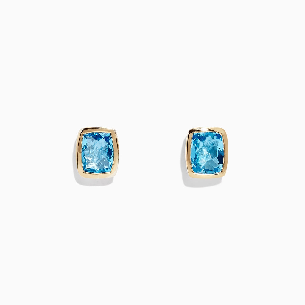Effy 925 Sterling Silver & 18K Gold Blue Topaz Stud Earrings, 7.10 TCW
