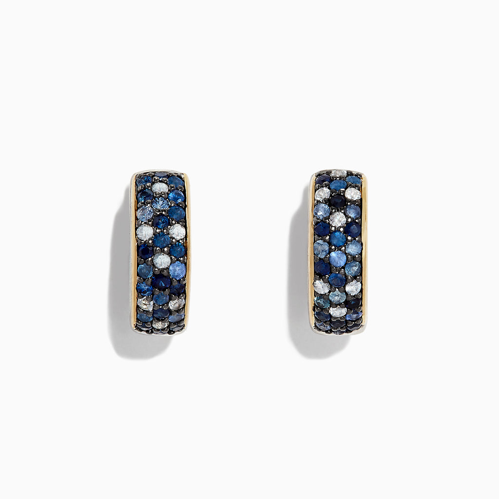 Effy 925 Sterling Silver & 18K Gold Accent Sapphire Earrings, 0.80 TCW