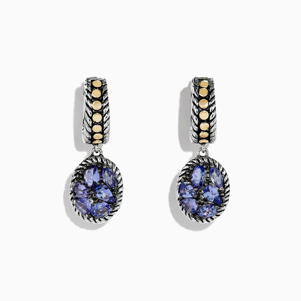 Effy Tanzanite Royale Silver & 18K Gold Tanzanite Drop Earrings, 2.60 TCW