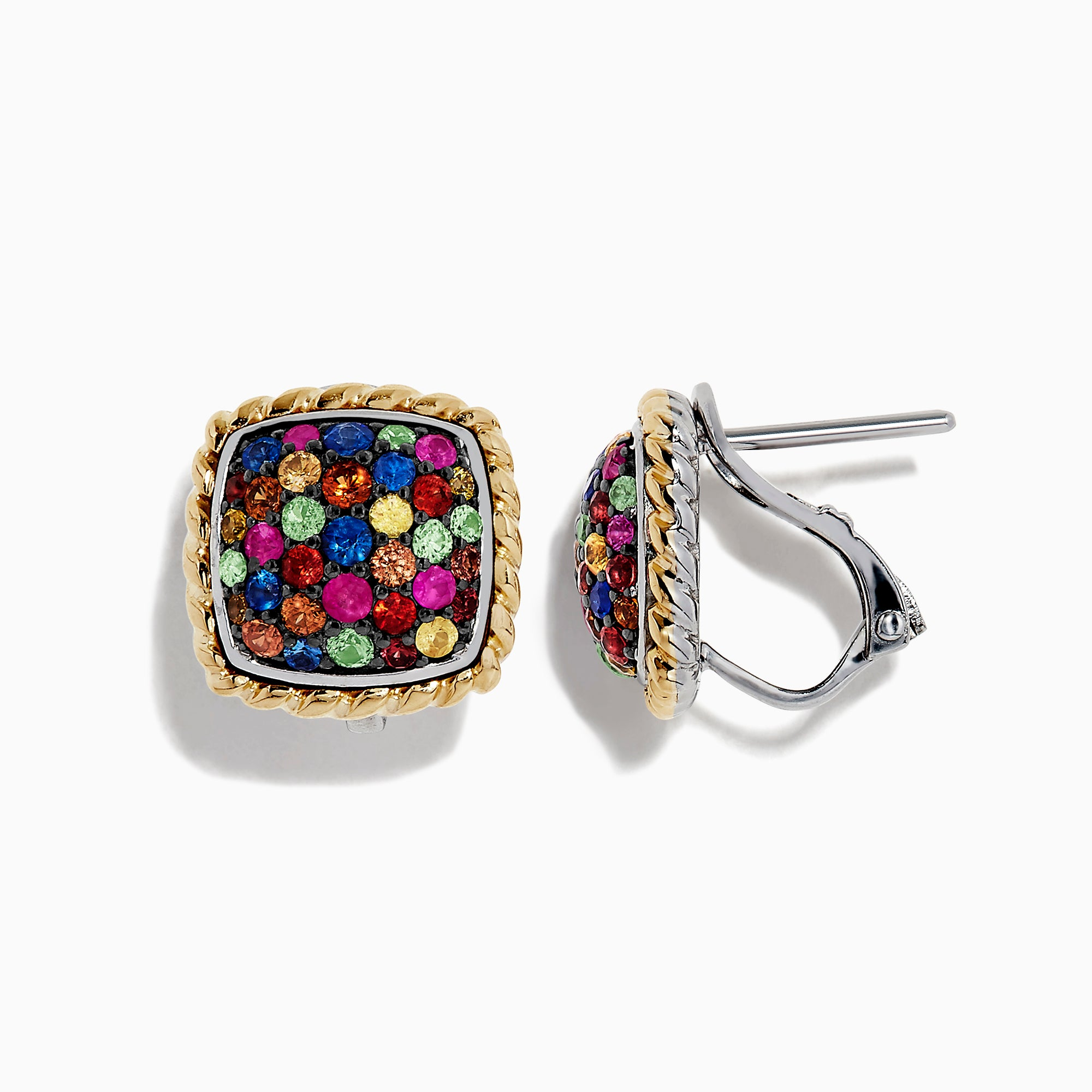 Effy Mosaic Sterling Silver & 18K Gold Multi Sapphire Earrings, 1.16 TCW