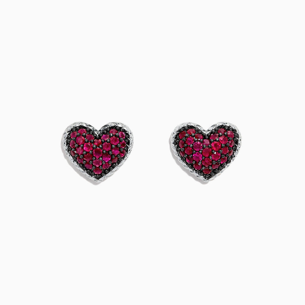 Effy 925 Sterling Silver Ruby Heart Earrings, 1.31 TCW