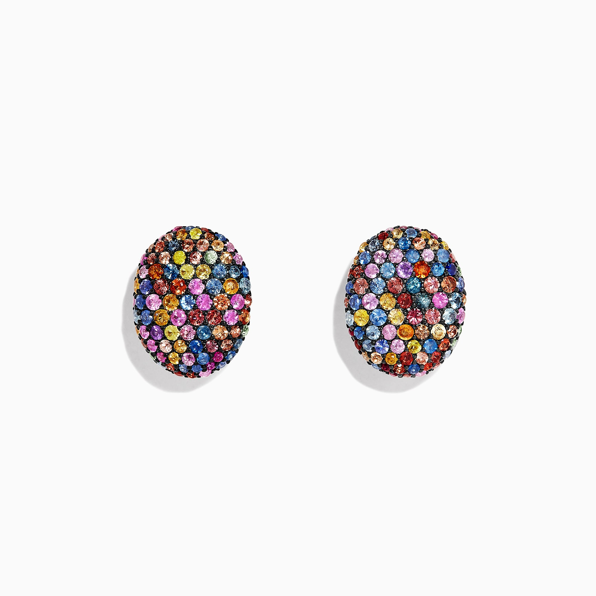 Effy Splash Sterling Silver Multi Sapphire Oval Earrings, 3.39 TCW