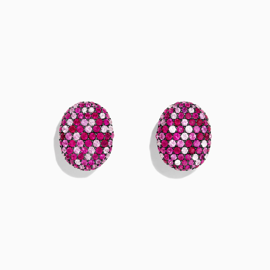 Effy Splash Sterling Silver Pink Sapphire and Ruby Oval Earrings, 3.12 TCW