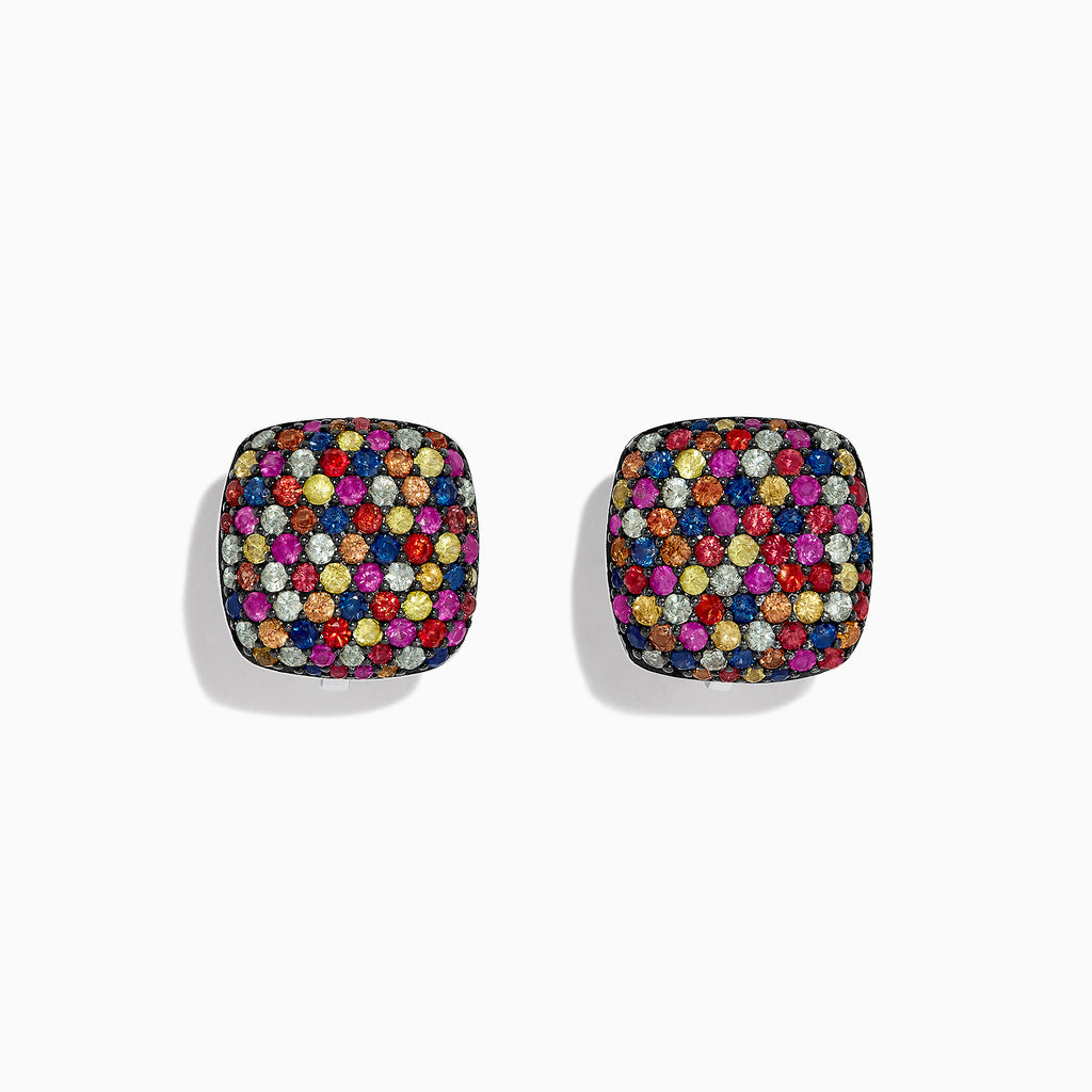 Effy Splash Sterling Silver Multi Color Sapphire Square Earrings, 3.75 TCW