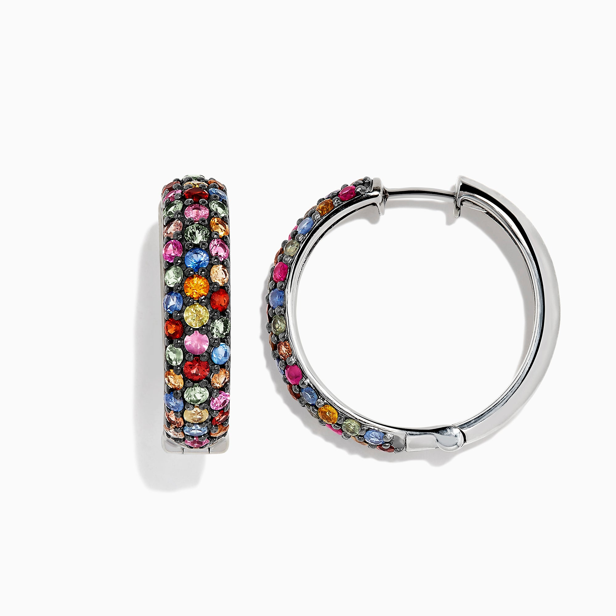 "Effy Splash Silver Multi Sapphire 1"" Hoop Earrings, 4.08 TCW"