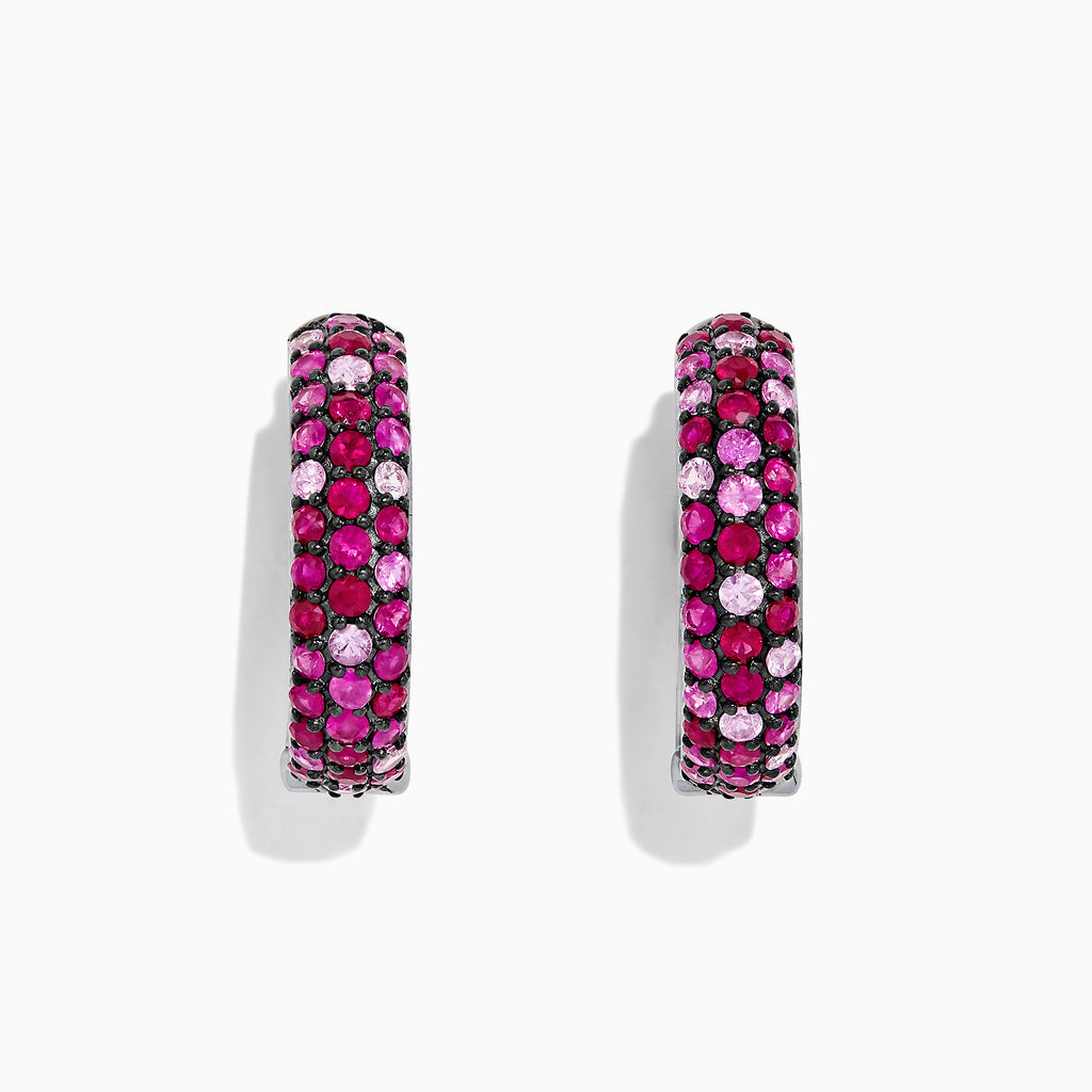 "Effy Splash Silver Pink Sapphire & Ruby 1"" Hoop Earrings, 3.87 TCW"