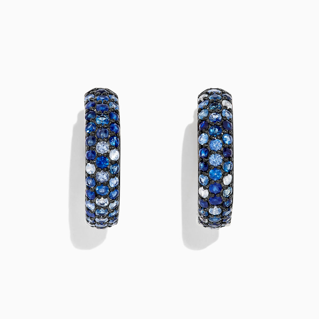 "Effy Splash Silver Blue Sapphire 1"" Hoop Earrings, 3.97 TCW"