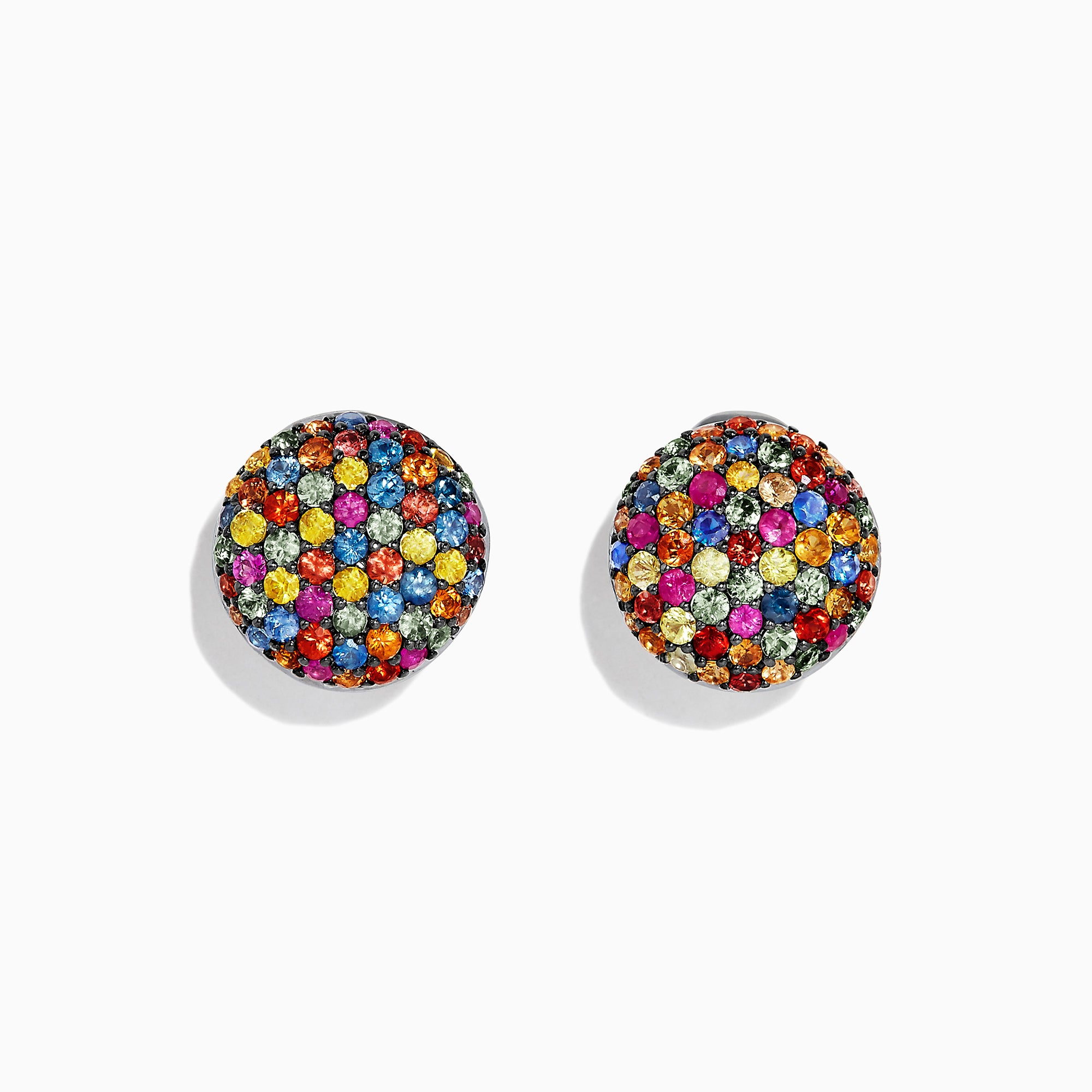 Effy Splash Sterling Silver Multi Sapphire Circle Earrings, 3.39 TCW