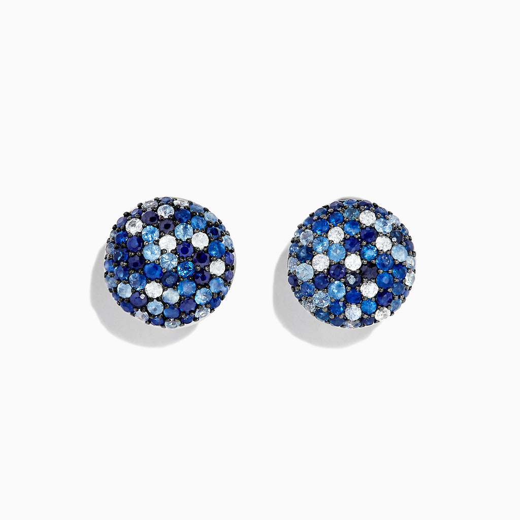 Effy Splash Sterling Silver Blue Sapphire Circle Earrings, 3.34 TCW