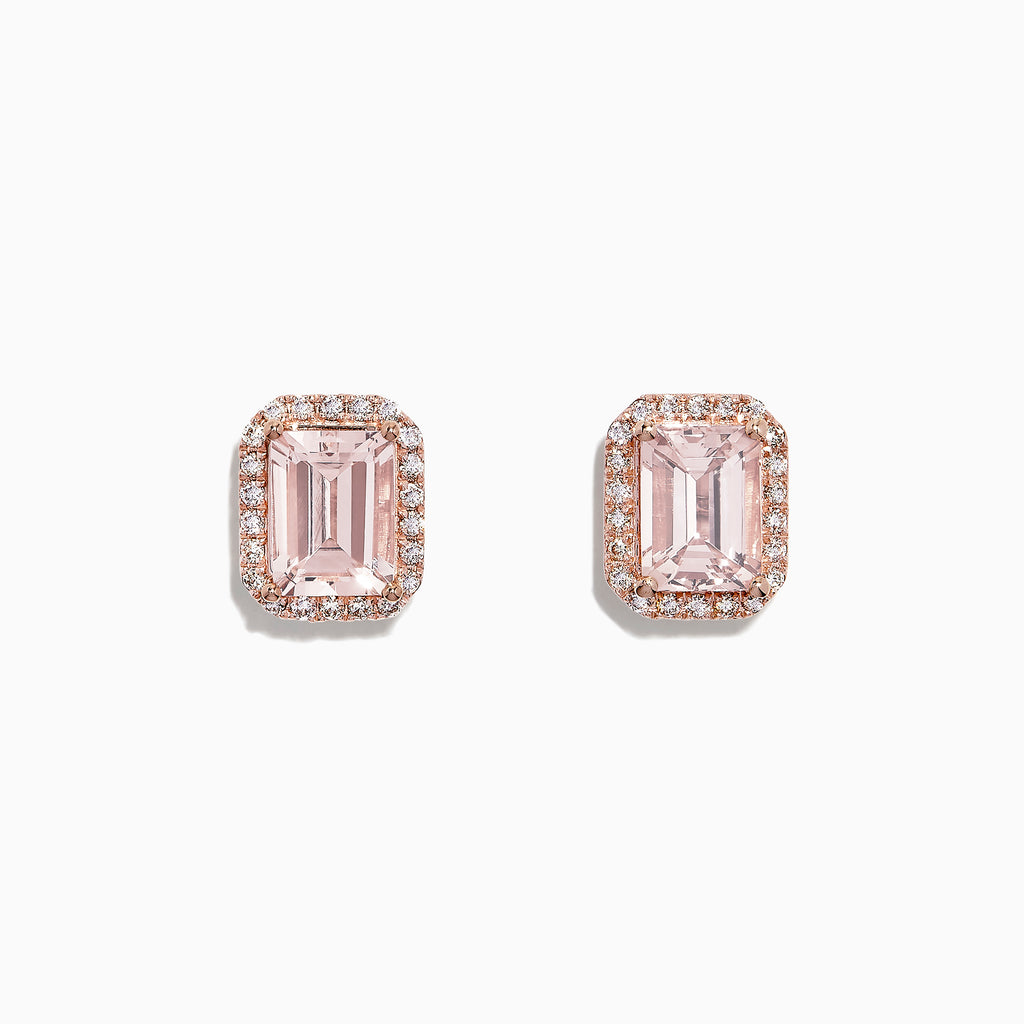 Effy Blush 14K Rose Gold Morganite and Diamond Earrings, 3.12 TCW