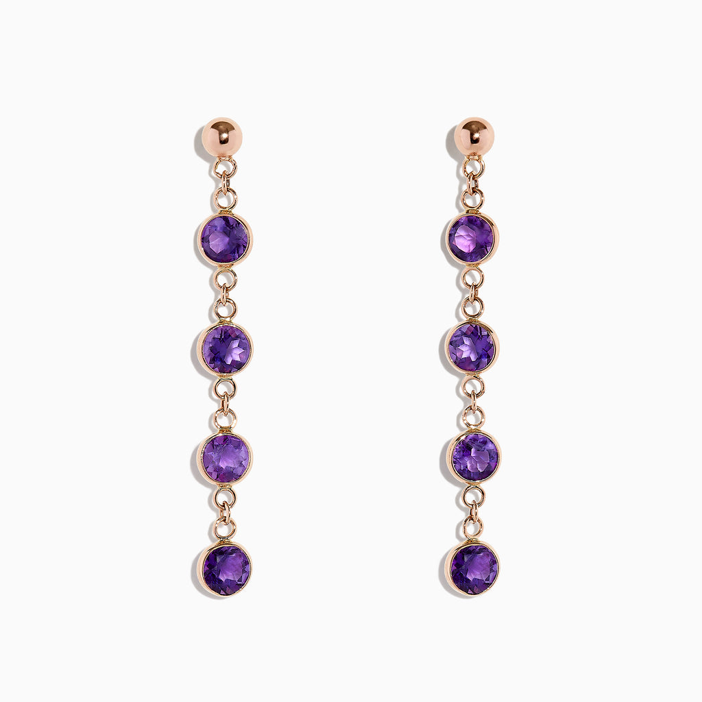 Effy 14K Rose Gold Amethyst Station Earrings, 2.08 TCW