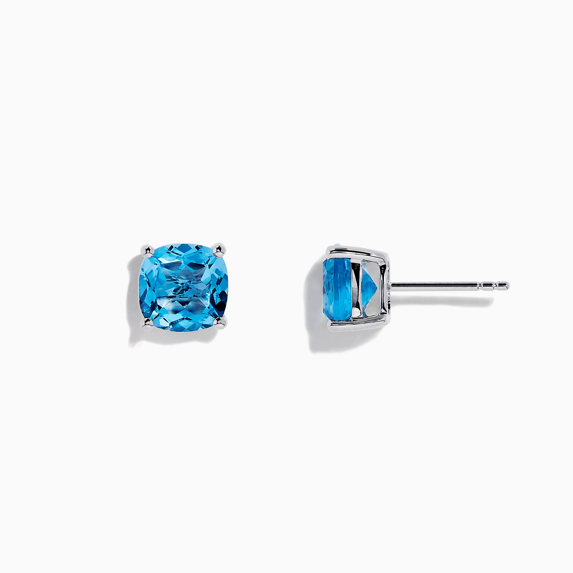 Effy 14K White Gold Blue Topaz Stud Earrings, 5.15 TCW