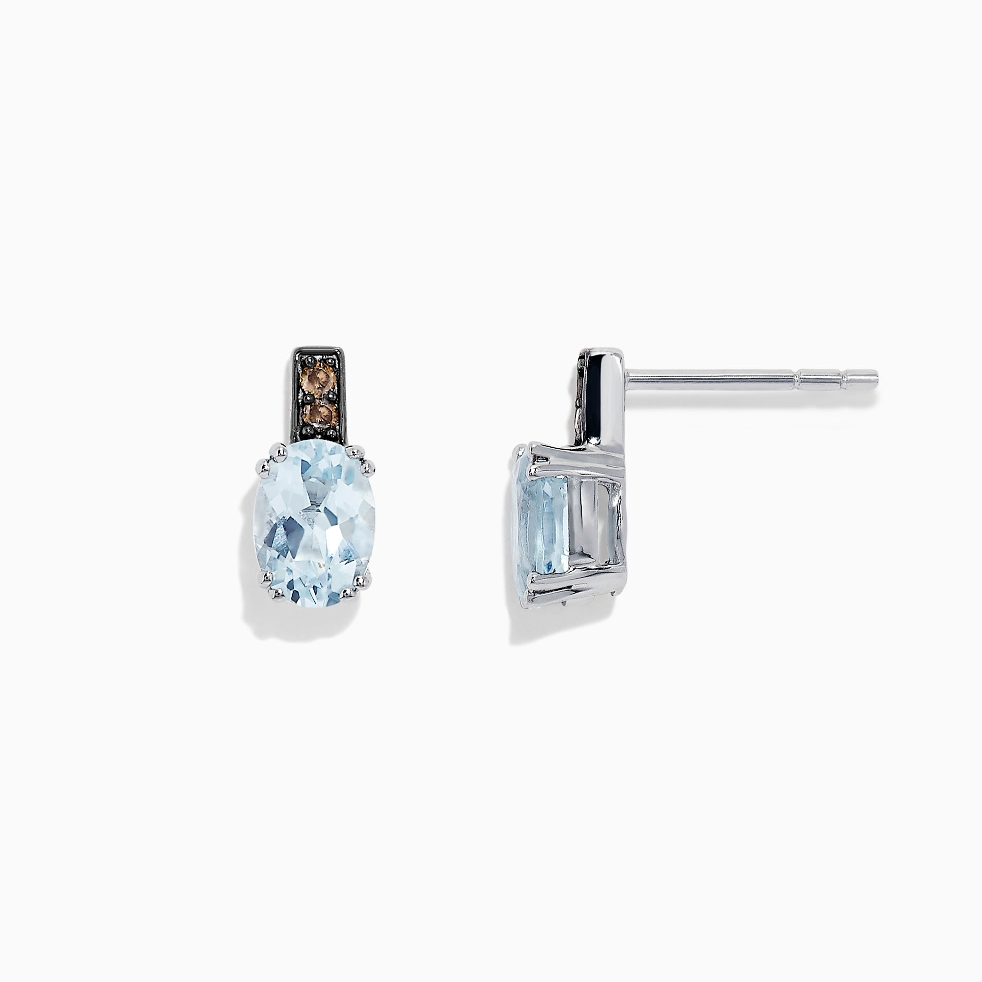 Effy 14K White Gold Aquamarine and Diamond Earrings, 1.58 TCW
